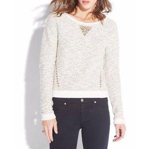 LUCKY LOTUS Studded Metallic Pullover Top